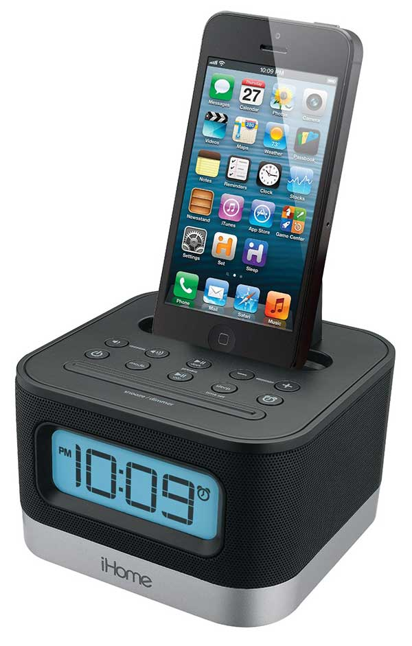 ihome 110 240 volts fm clock radio alarm with lightning dock for iphone 5 5s and 6 6plus. Black Bedroom Furniture Sets. Home Design Ideas
