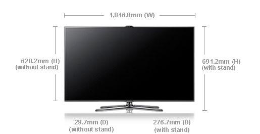 Samsung ua46es7500 46 multi system 3d led smart tv 110 220 240 volts pal ntsc - Dimension tv 55 pouces ...