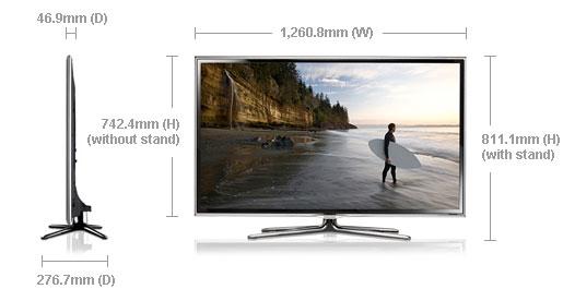 Samsung ua55es6800 55 multi system 3d led smart tv 110 220 240 volts pal ntsc - Dimension tv 55 pouces ...
