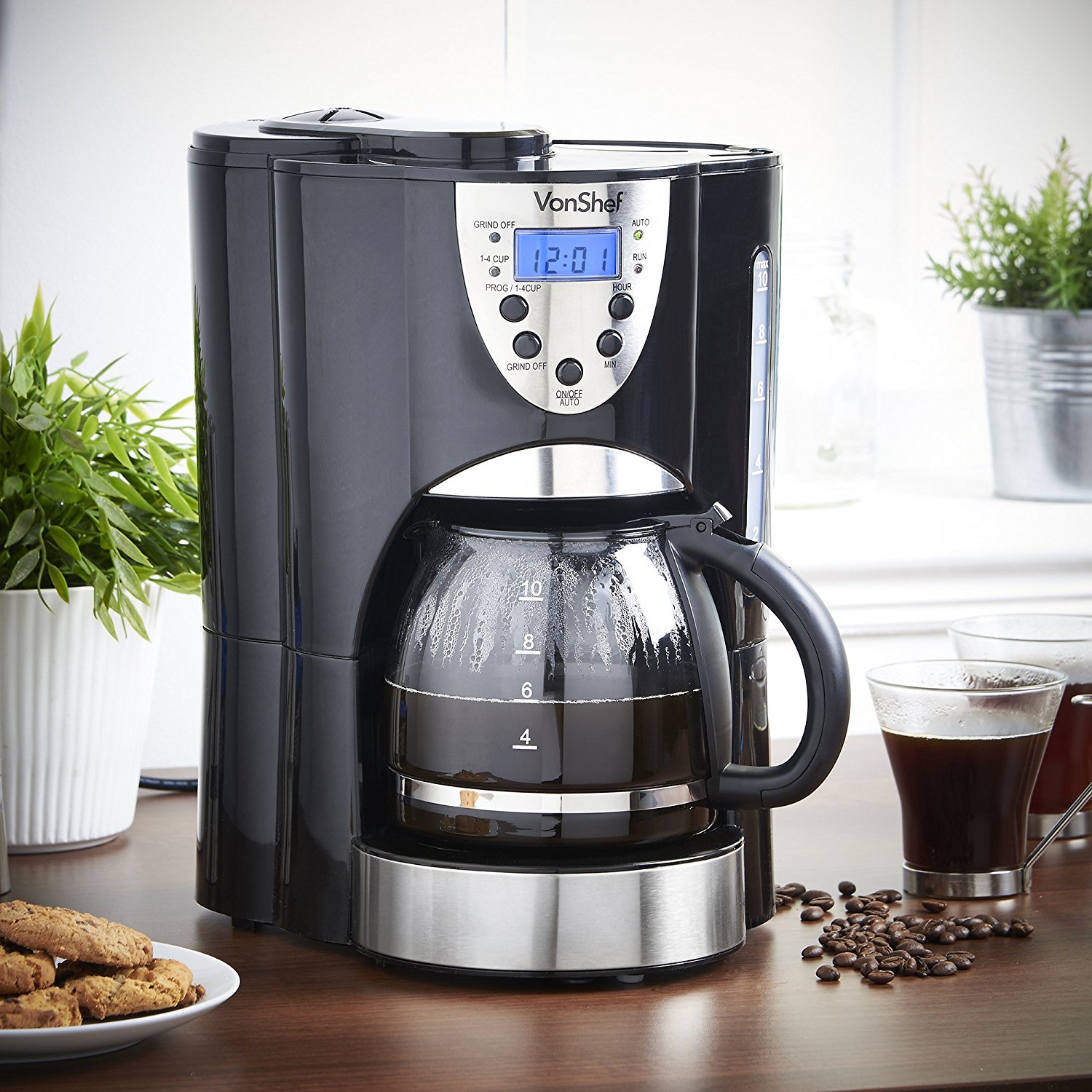 Coffee Maker With Grinder Reddit : VonShef 220-Volt Digital Programmable Coffee Maker with Built-in Grinder