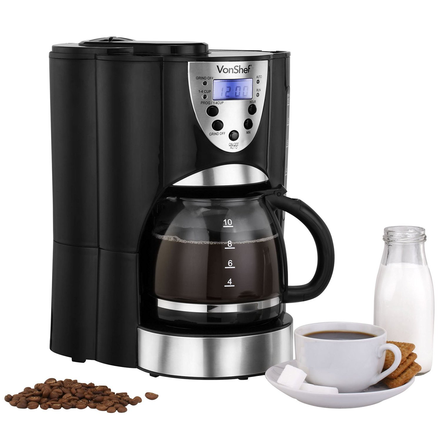Programmable Filter Coffee Maker : VonShef 220-Volt Digital Programmable Coffee Maker with Built-in Grinder