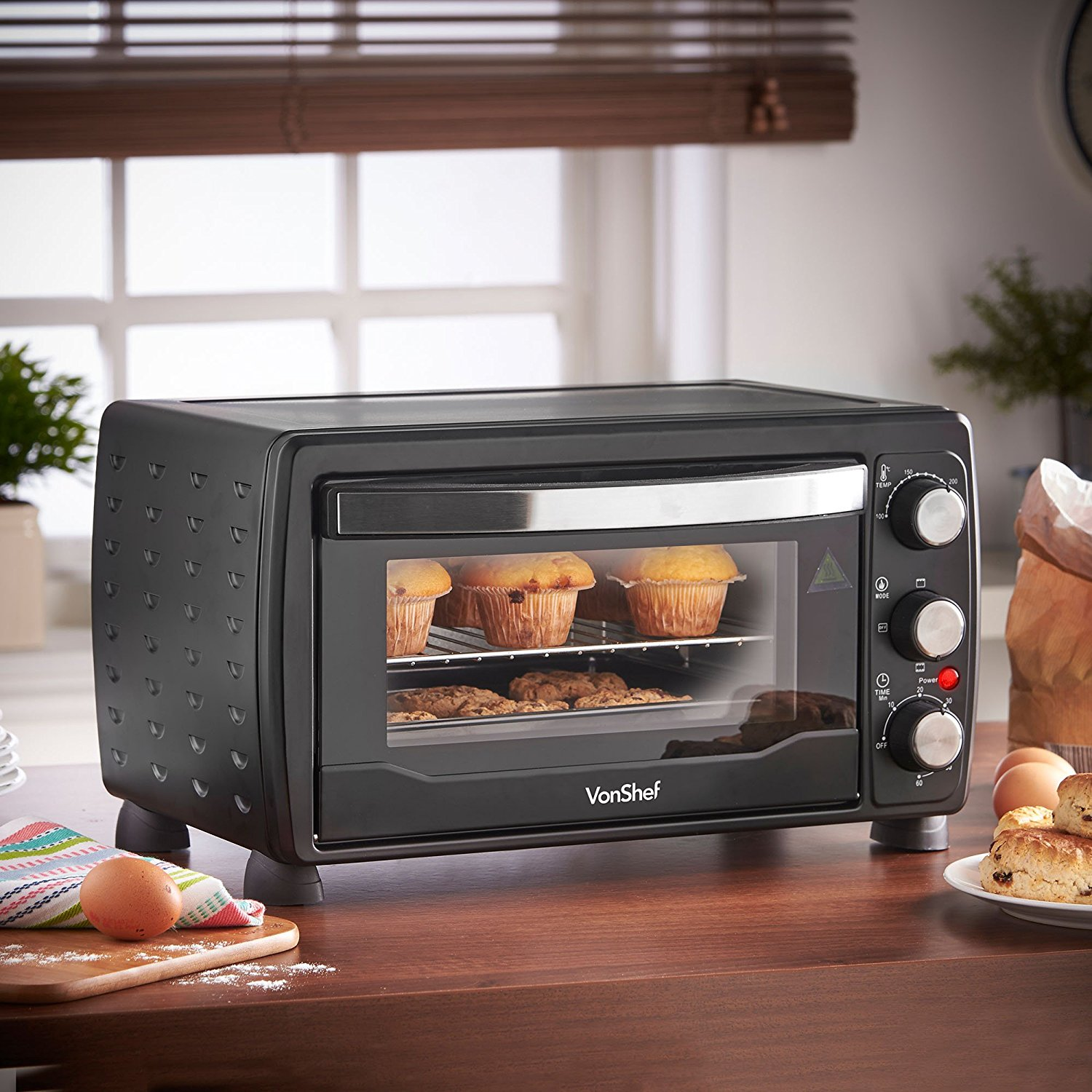 Countertop Oven Grill : Vonshef 220 volts 19 Liter Toaster oven / Grill 1400 watts with Baking ...