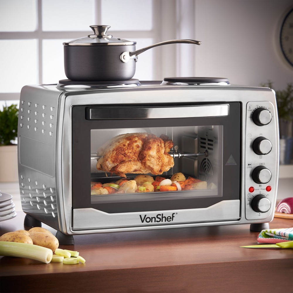 Vonshef 13217 Large Toaster Oven W Double Hot Plate For