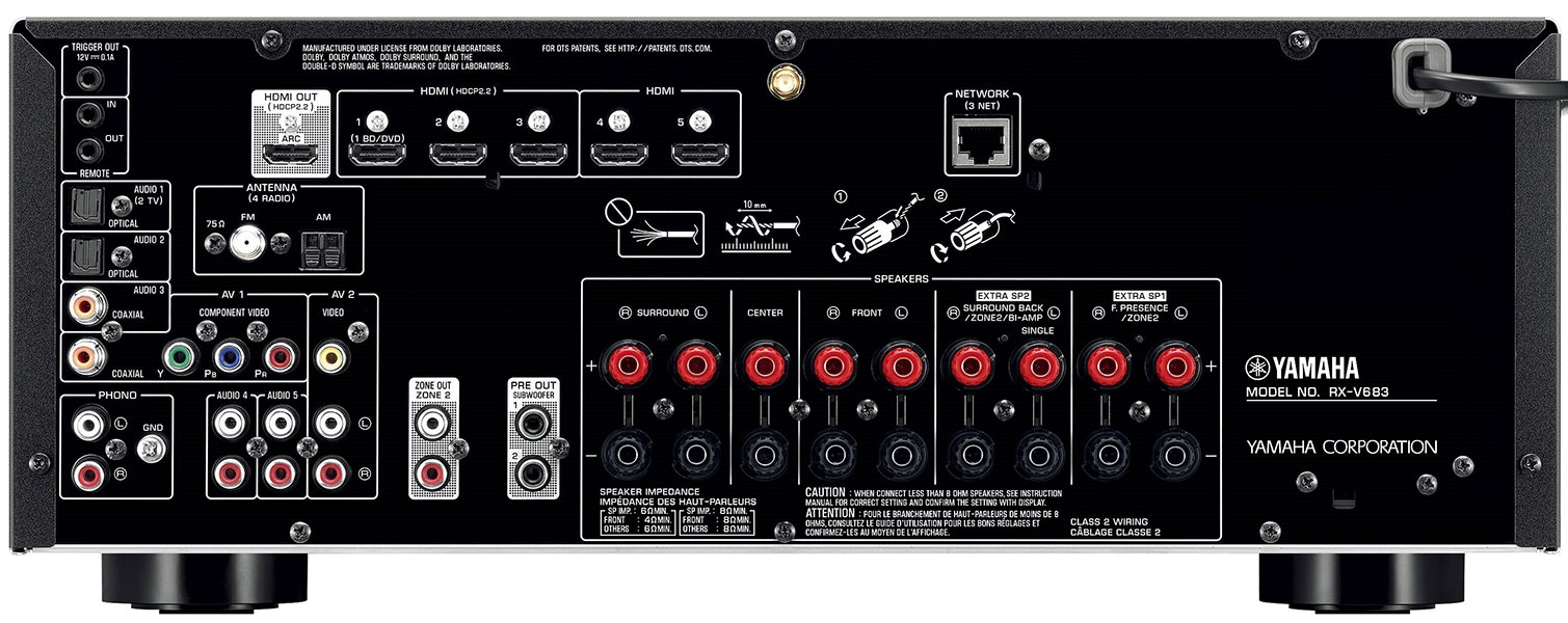 Yamaha RX-V683 Audio/Video Receiver for 110-220 Volts